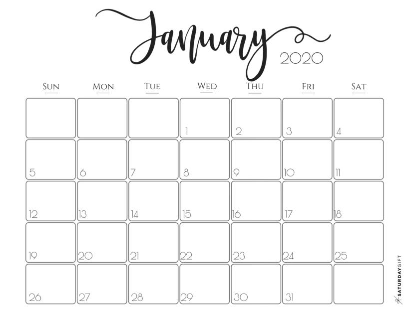 30 Minimalist January 2020 Calendars to Print | January ...