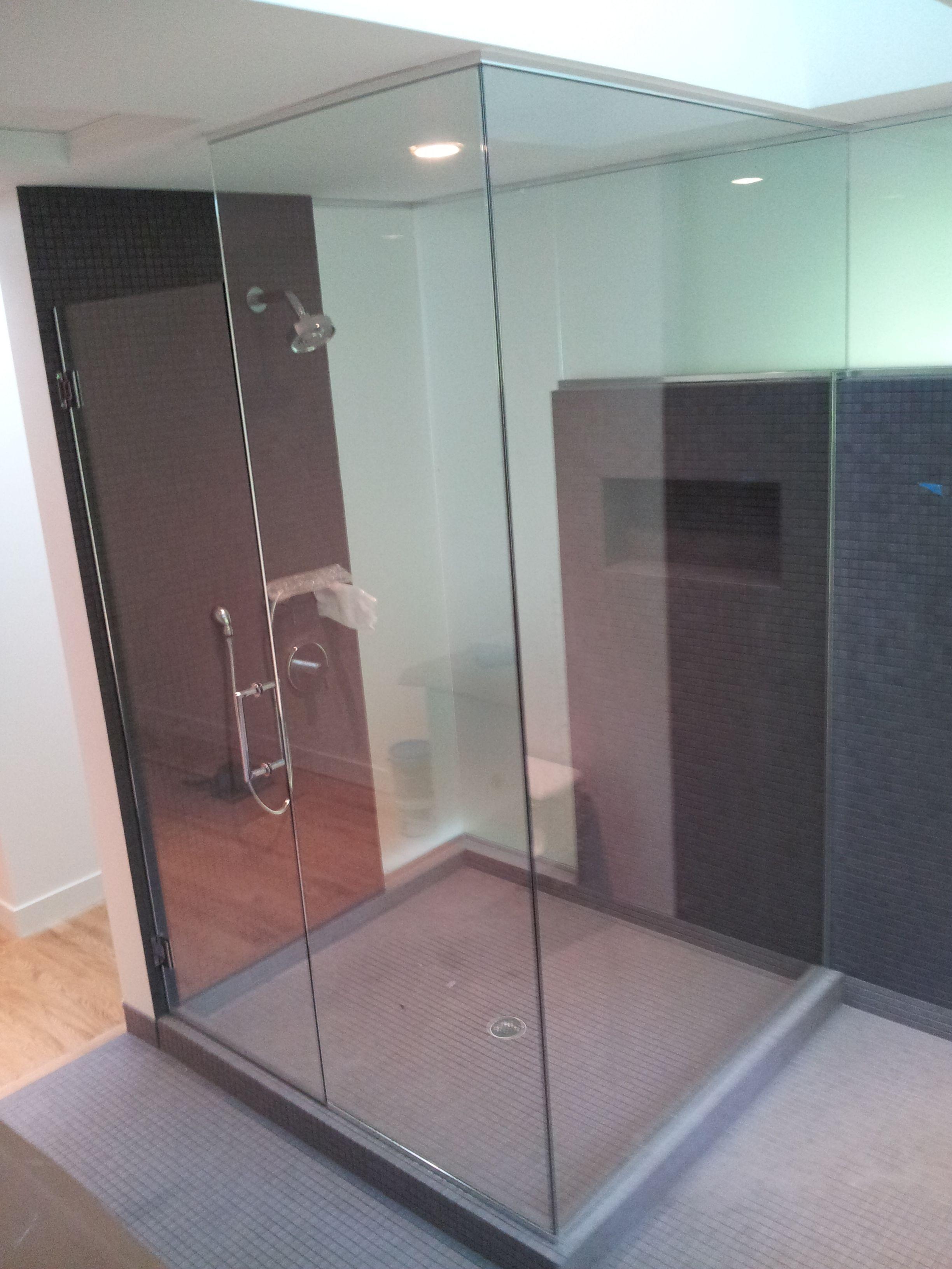 2 Sided Shower Enclosure Frameless One Side Clear And One Side Frosted Frameless Shower Enclosures Shower Enclosure Custom Shower Doors