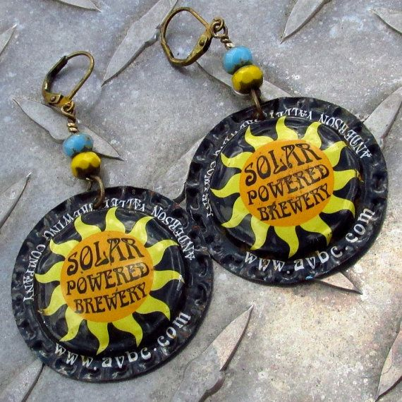 Sun Earrings with Solar Powered Brewery Craft by BajunaLotsOfTuna, $18.00