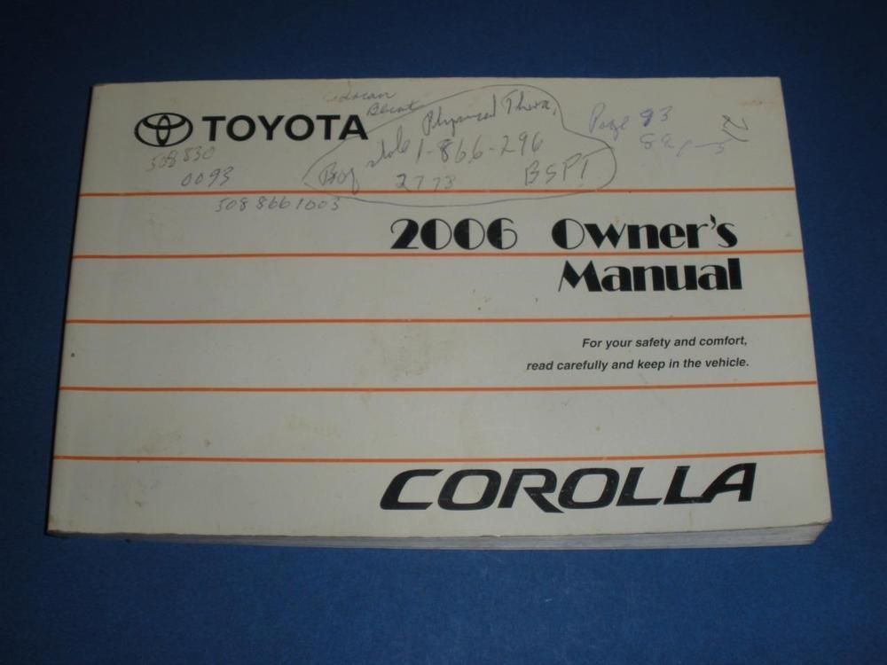2006 Toyota Corolla Owners Manual Book Guide