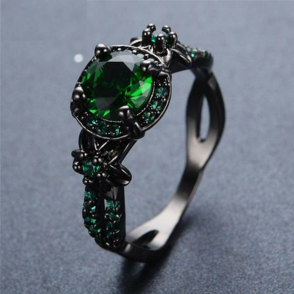 Vintage Emerald Green CZ Wedding Ring 10KT Black Gold Filled Women//Men/'s Size 7