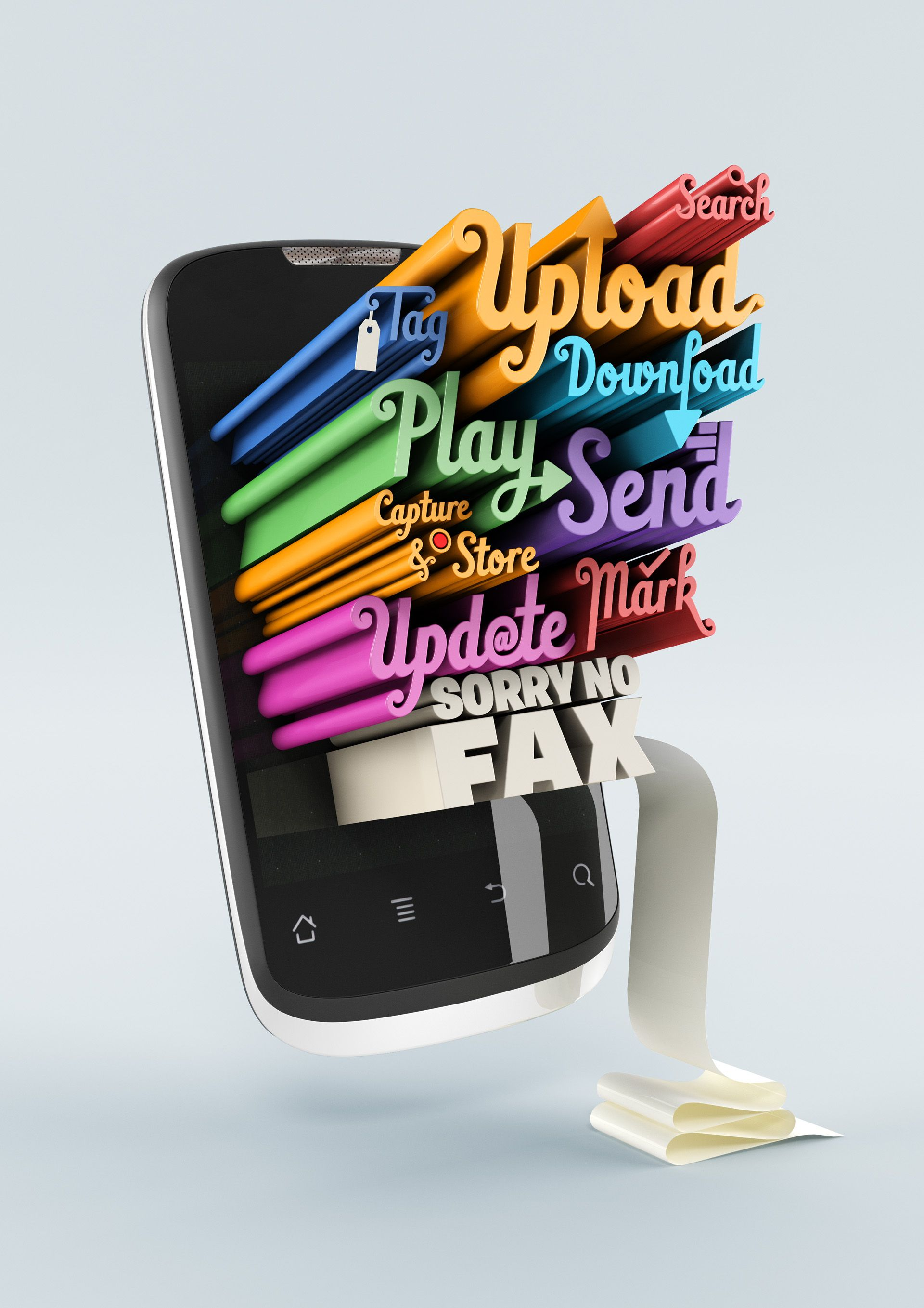 Huawei advertising campaign 3d typography mobile