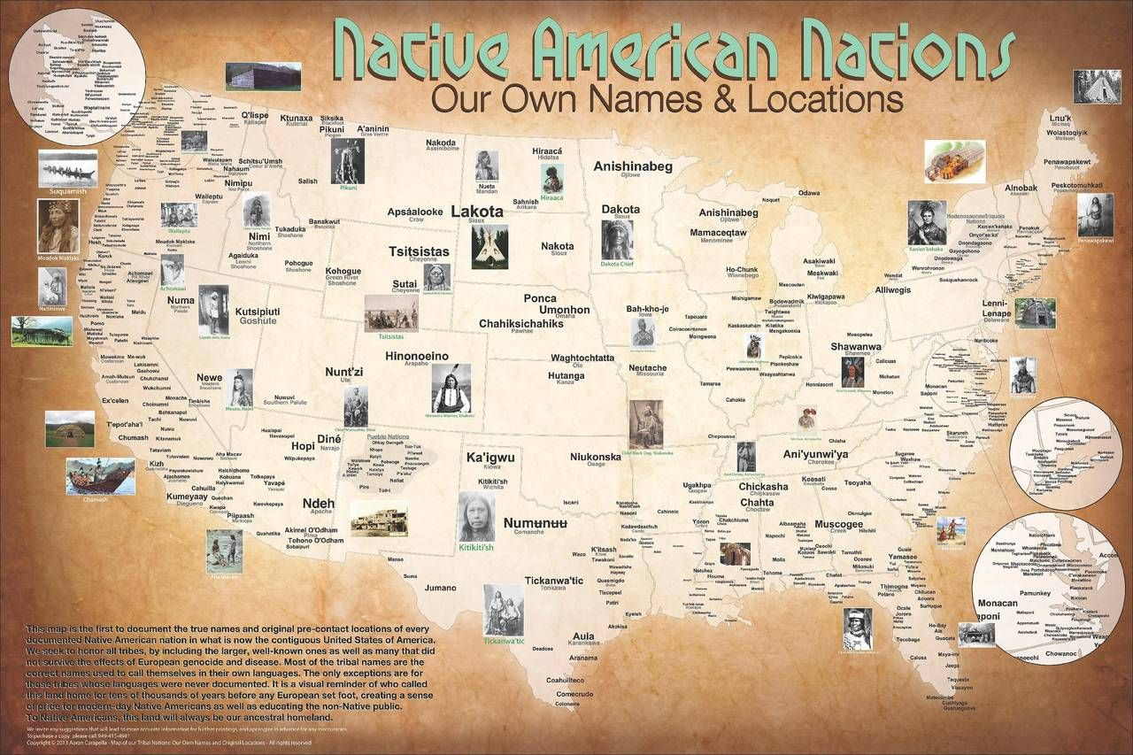 Native American Nations Our Own Names And Locations Map Of - Native american map of america