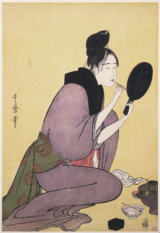 Japanese Color Woodcut by Kitagawa Utamaro, Painting the lips. c.1794
