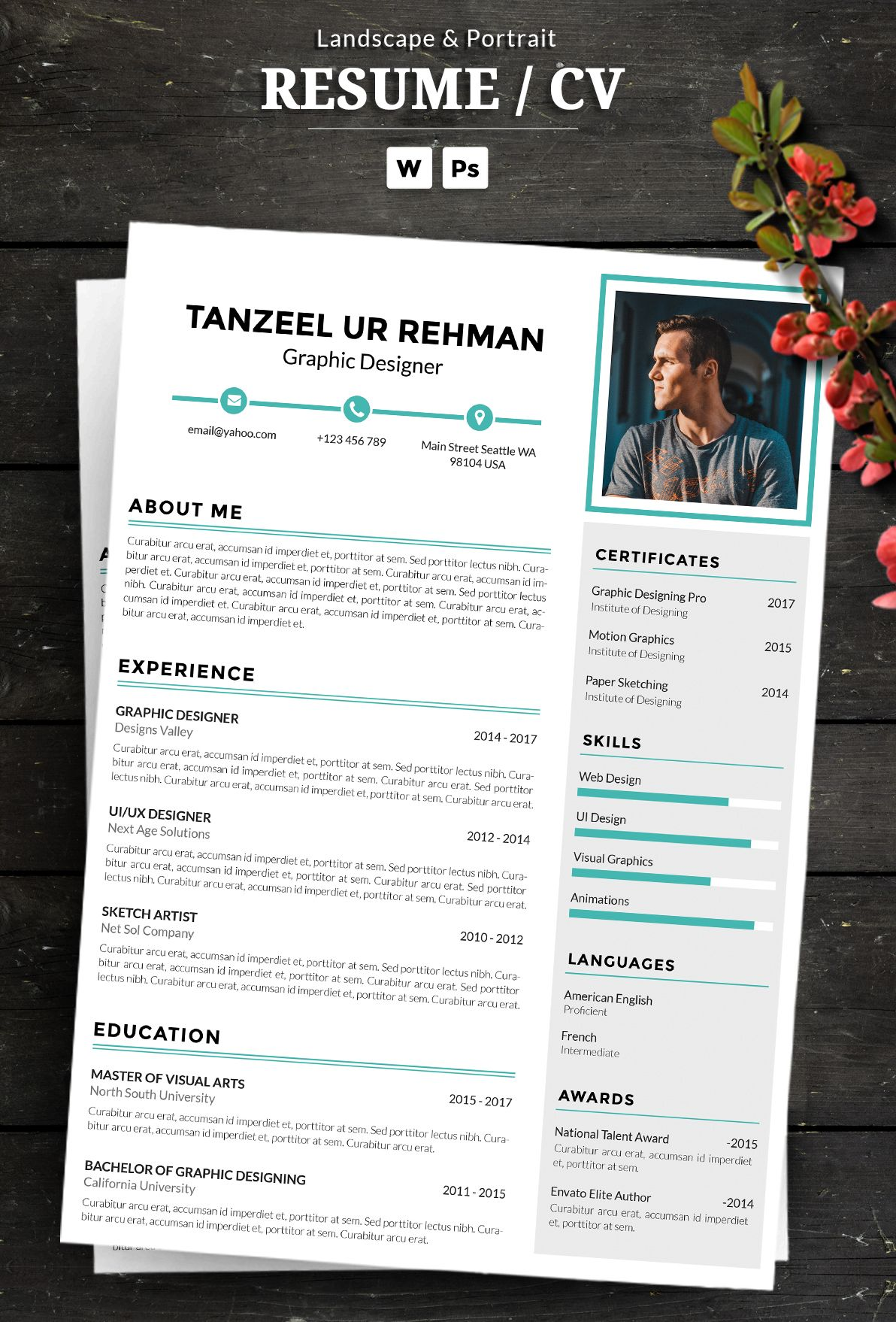 An Attractive Resume Cv Template With Super Clean And Modern Look It Includes Single Page Resume And Cover Cv Resume Template Resume Cv Resume Design Template