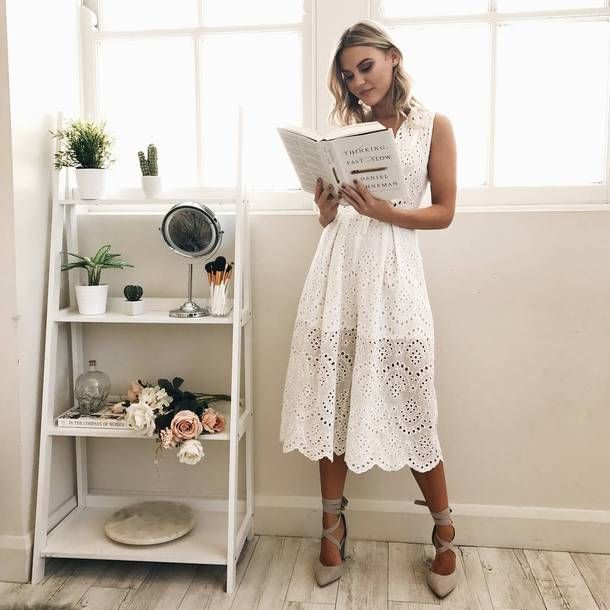 Dress: tumblr midi white eyelet eyelet detail sleeveless sleeveless see through see through pumps
