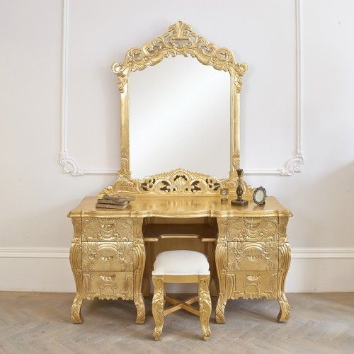 Rococo Dressing Table Mirror And Stool French In Gold Leaf
