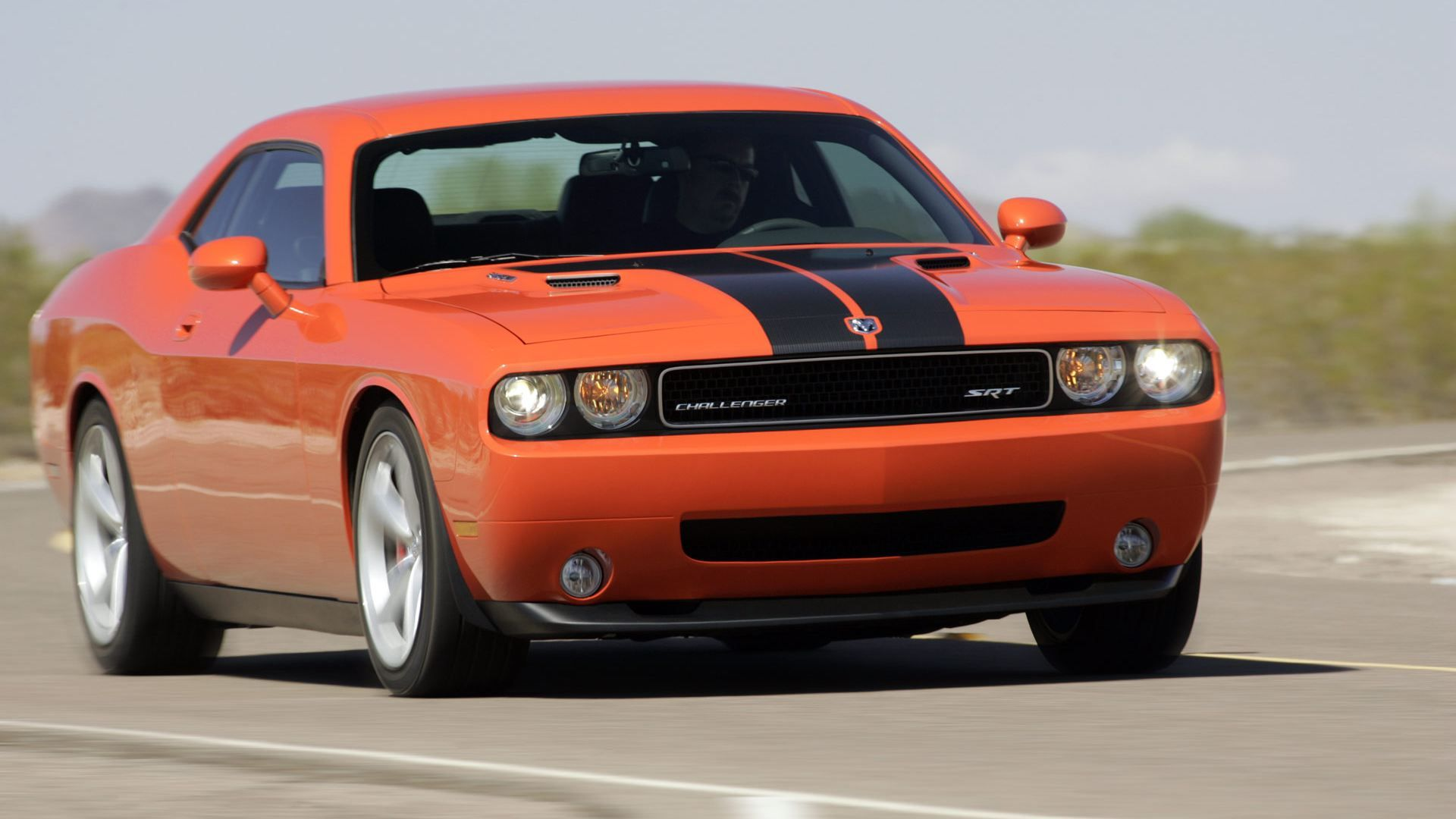Orange dodge challenger srt8