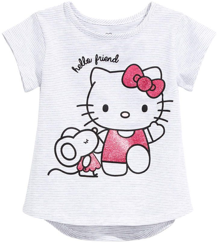 le top Little Girls Miss Kitty and Friends Pink Striped Dress