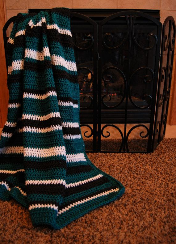 Crochet Blanket Eagles Colors Teal Black And White Throw Afghan Eagles Blanket Striped Blanket Crochet Blanket Striped Crochet Blanket Crochet Afghan