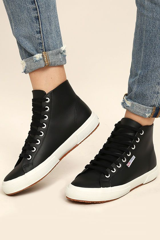 cc29d6adb67d The Superga 2795 FGLU Black Leather High-Top Sneakers are cool