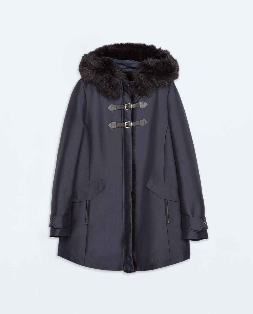 5e221599 Image 6 of FUR HOODED DUFFLE COAT WITH TOGGLES from Zara | Fashions ...