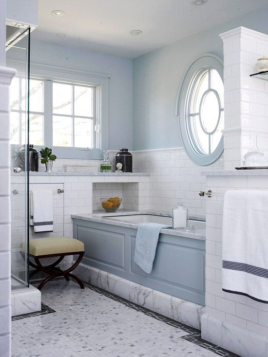 Pale Blue Bathroom Although The Overall Look Of Room Is Simple And Soothing Pattern Abounds In This Handsome Traditional Bath