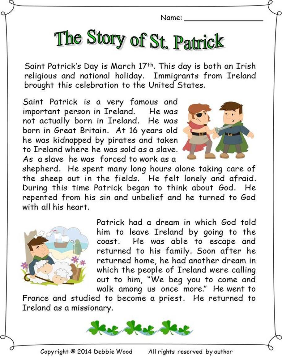 St. Patrick's Day Reading Comprehension Activities #lifestories