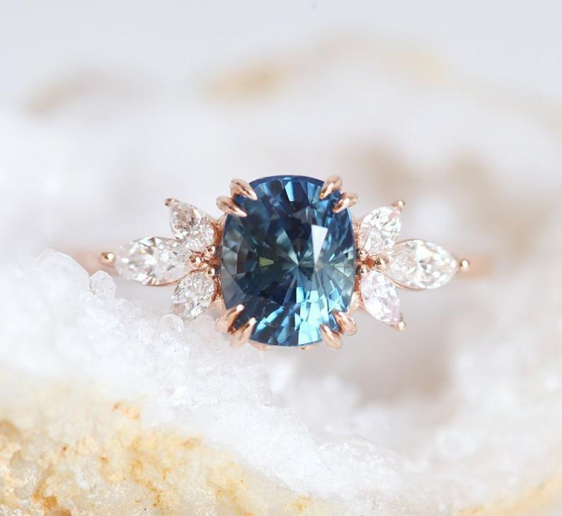 Bague de fiançailles Blue Sapphire Rose Or, Blue Cushion Sapphire et Diamond Ring, Unique Blue Engagement Ring
