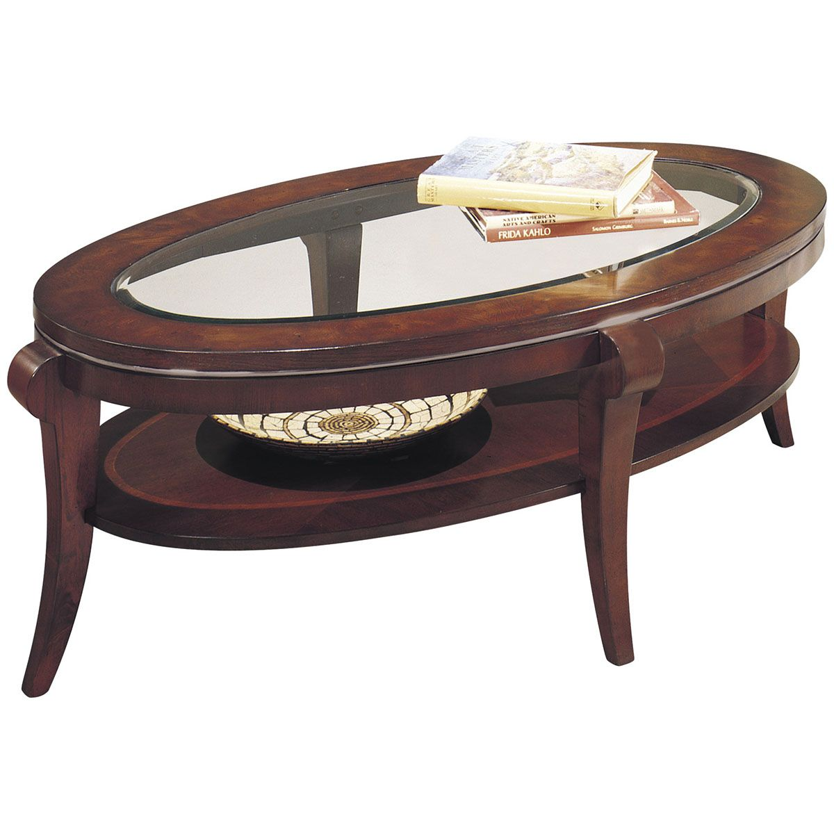Incroyable Bassett Mirror Ashland Heights Oval Cocktail Table 8436 140EC