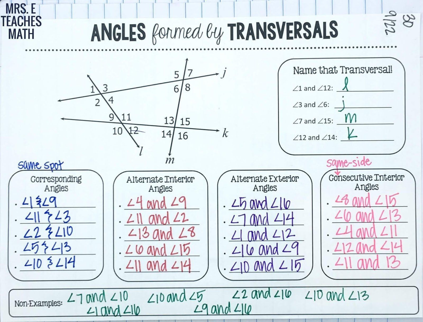Parallel Lines And Transversals Proofs Worksheet With