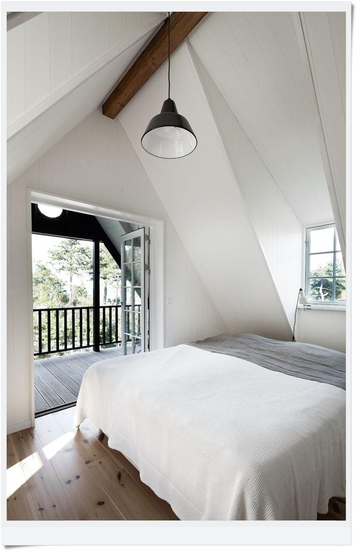Nice Bedroom Set In An A Frame Loft A Bit Stark But The
