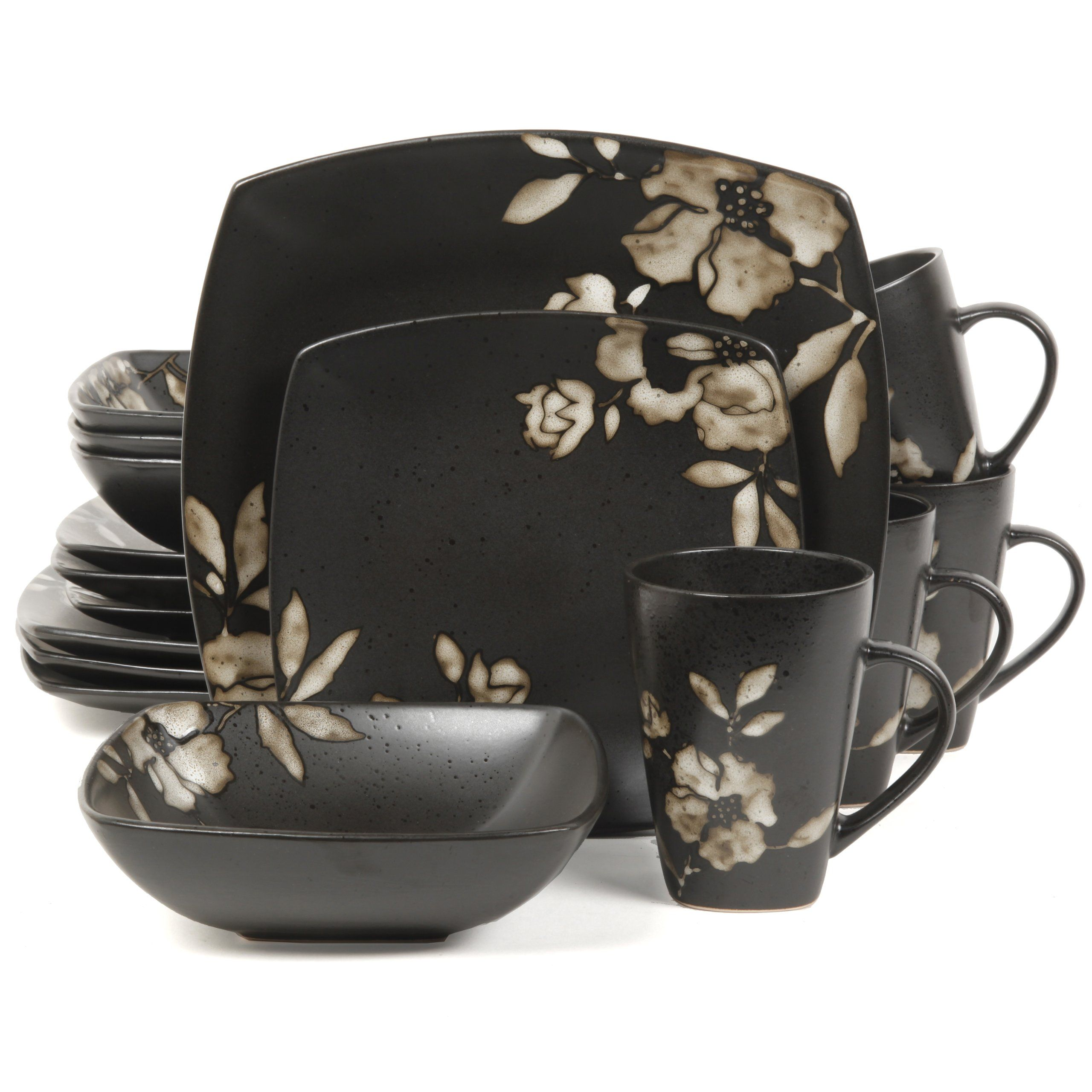 Amazon.com Gibson Elite Lanark 16-Piece Square Dinnerware Set Black  sc 1 st  Pinterest : top rated dinnerware sets - pezcame.com