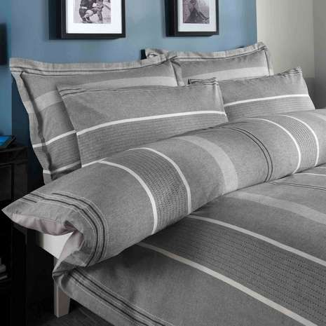 Beautiful Willington Grey Striped Duvet Cover And Pillowcase Set | Dunelm