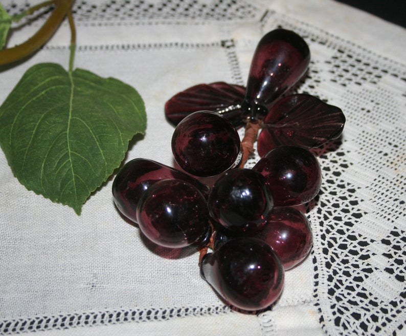 Vintage Blown Glass Grape Cluster Made In Italy Glass Etsy Glass Blowing Grapes Hand Blown