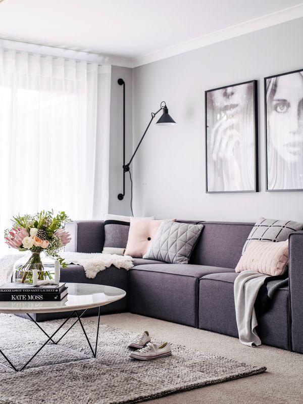 Adore home magazine blog decor pinterest magazines - Purple and grey living room accessories ...