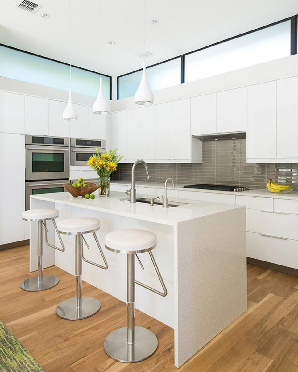 Best White Modern Kitchen With Yellow Flowers This Gleaming 640 x 480