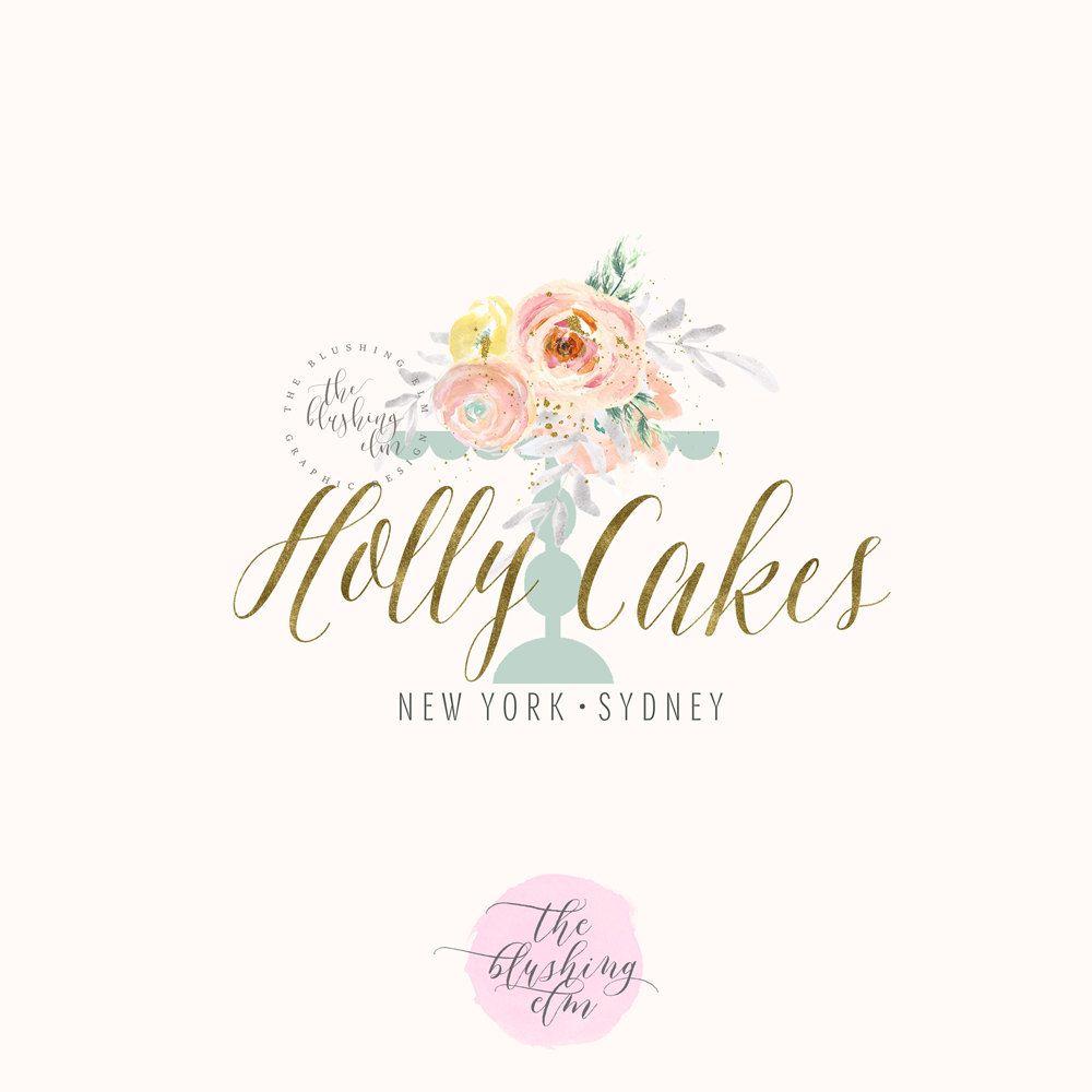 bakery logo premade logo graphic design watercolor logo