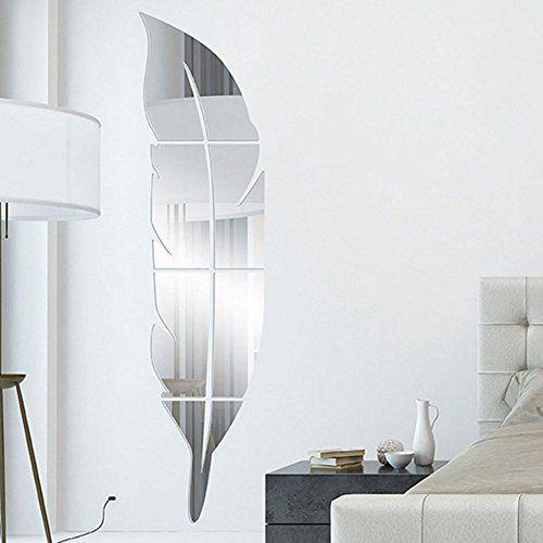 Anself 6pcs Mureaux Art Bricolage Parties Mirror Amovible Adhésif 3D ...