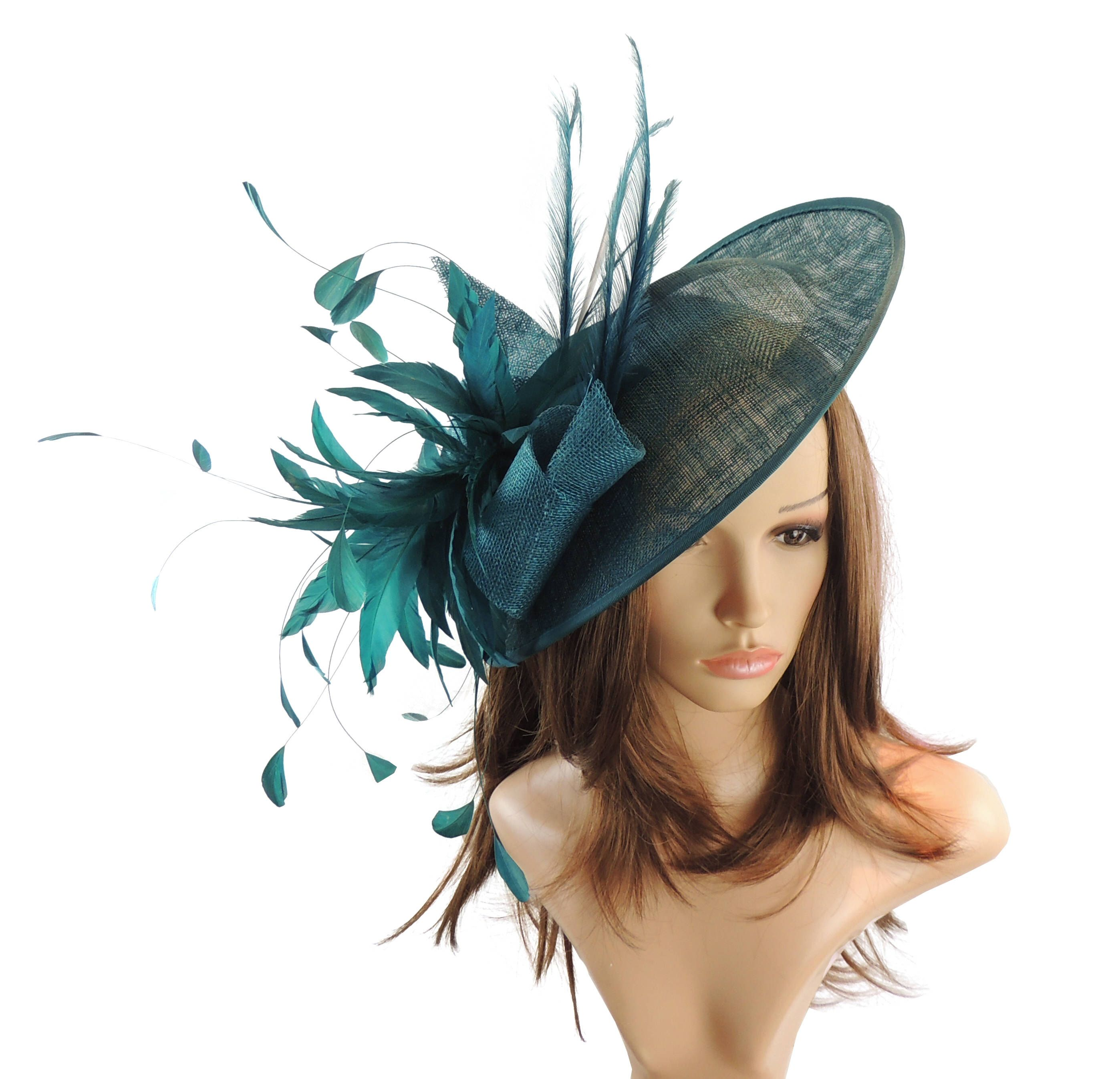 169ecdbc1e2d2 Adonis Teal Fascinator Hat for Weddings