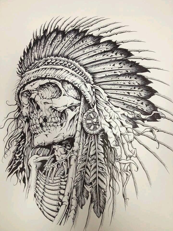 ae6d6aff0 Indian Skull | Skulls & Bones | Skull tattoos, Indian skull tattoos ...