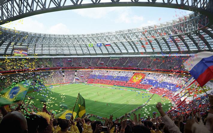 Download Wallpapers Luzhniki Stadium 4k Russian Football Stadium 2018 Fifa World Cup Main Stadium Russia 2018 View Inside Green Football Field Fans Sta World Cup Stadiums World Cup World Cup 2018