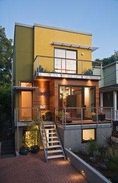 SE Urban Small Lot Portland Oregon modern house green