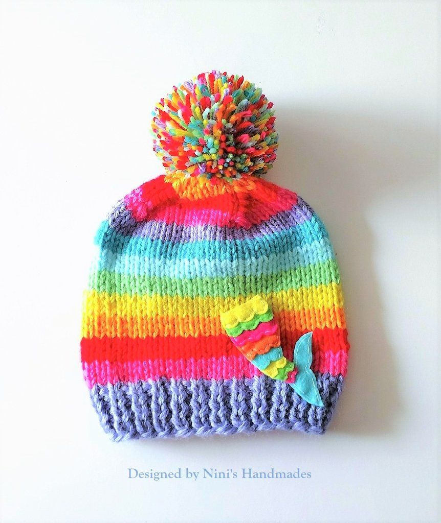 1201dbad539 Chunky Knit Girls Rainbow Hat and Rainbow Mermaid Tail Pom Pom Hat ...