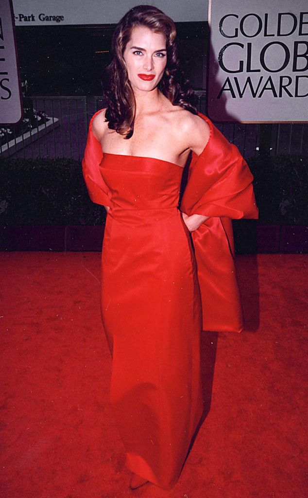 Brooke Shields from A Colorful History of Golden Globes Fashion   Golden  globes fashion, Fashion, Brooke shields