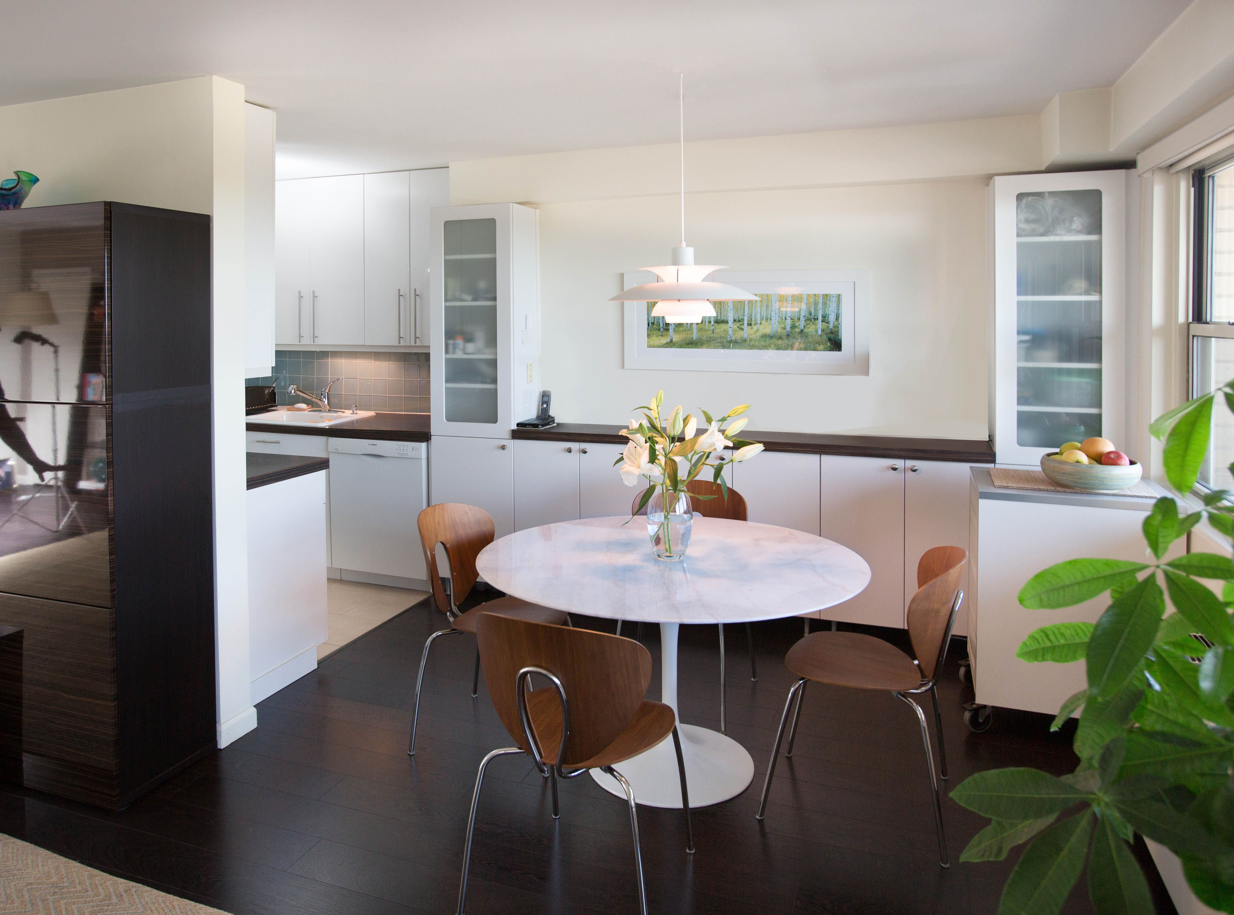 Contemporary Dining Room Cabinets Amazing Modern Dark Wood Floors And Light Walls Provide A Clean Backdrop Inspiration