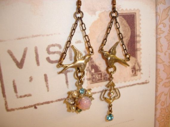 Which Way You Goin Birdie...Can I Go Too...Earrings Made From VINTAGE Findings