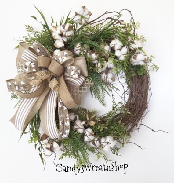 Photo of Cotton Boll Wreath, Southern Wreath, Floral Wreath, Farmhouse Wreath, Grapevine Wreath, Cotto …