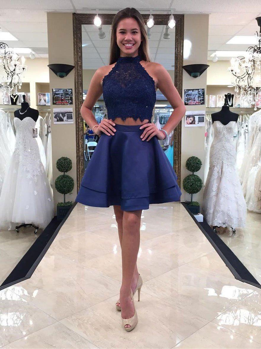 Princess halter piece homecoming dressesmini short prom dresses