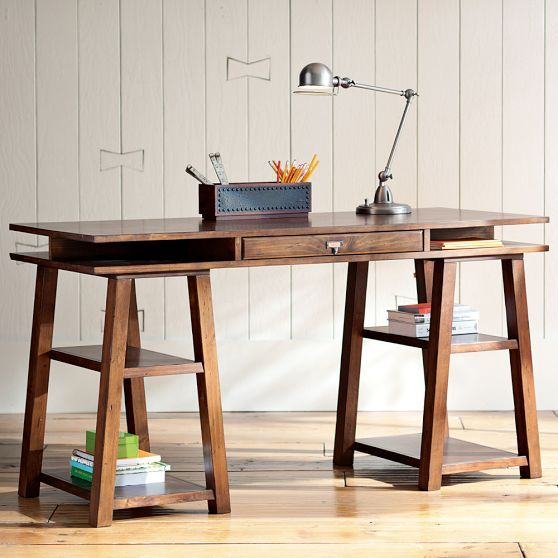 Customize It Storage Trestle Desk In 2019 Linds Desk Trestle Desk Desk Desk Plans
