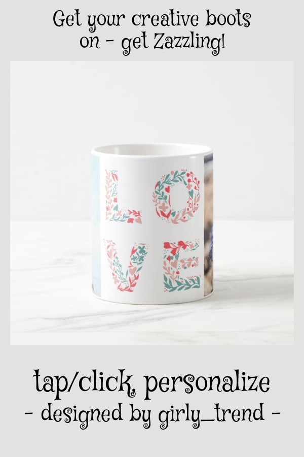 Modern editable pastel floral love 2 photo grid coffee mug #love #script #editable #pastel #colors #coffeemug #floralmothersdaygifts #custommothersdaygifts #mothersdaygiftideas #mothersday #zazzleaffiliate #mothersday photos Modern editable pastel floral love 2 photo grid coffee mug | Zazzle.com