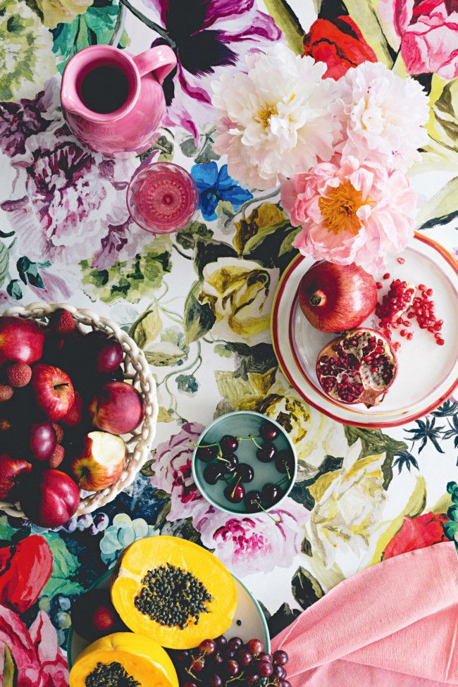 Celebrate the fun and frivolity of summer by clashing painterly florals with bold graphics and ornate pieces with hardy cane. By Danielle Selig; photography by