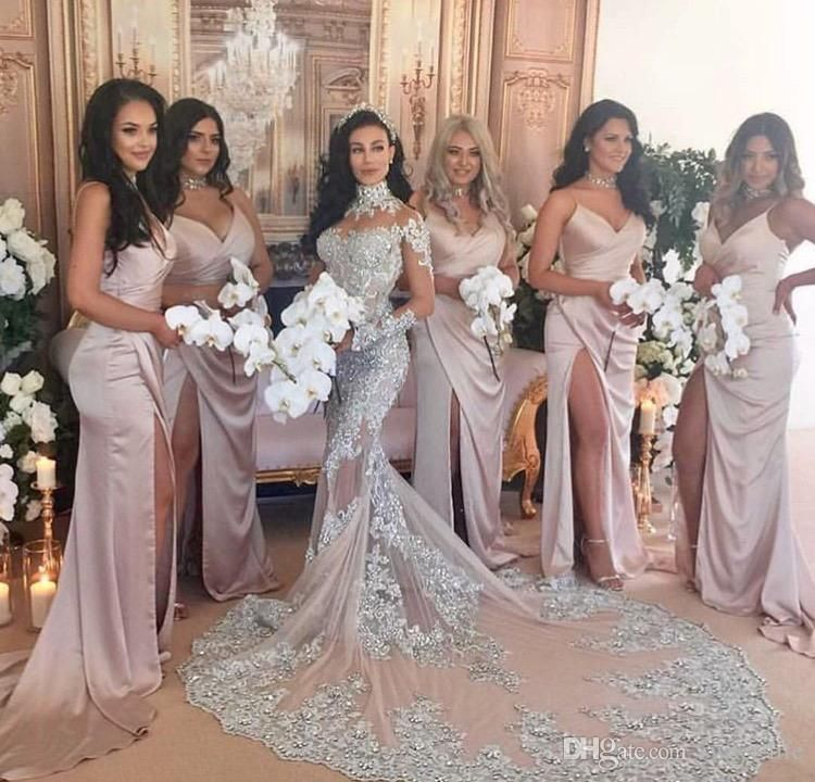 Custom Made 2017 Blush Bridesmaid Dresses Sexy Spaghetti Straps