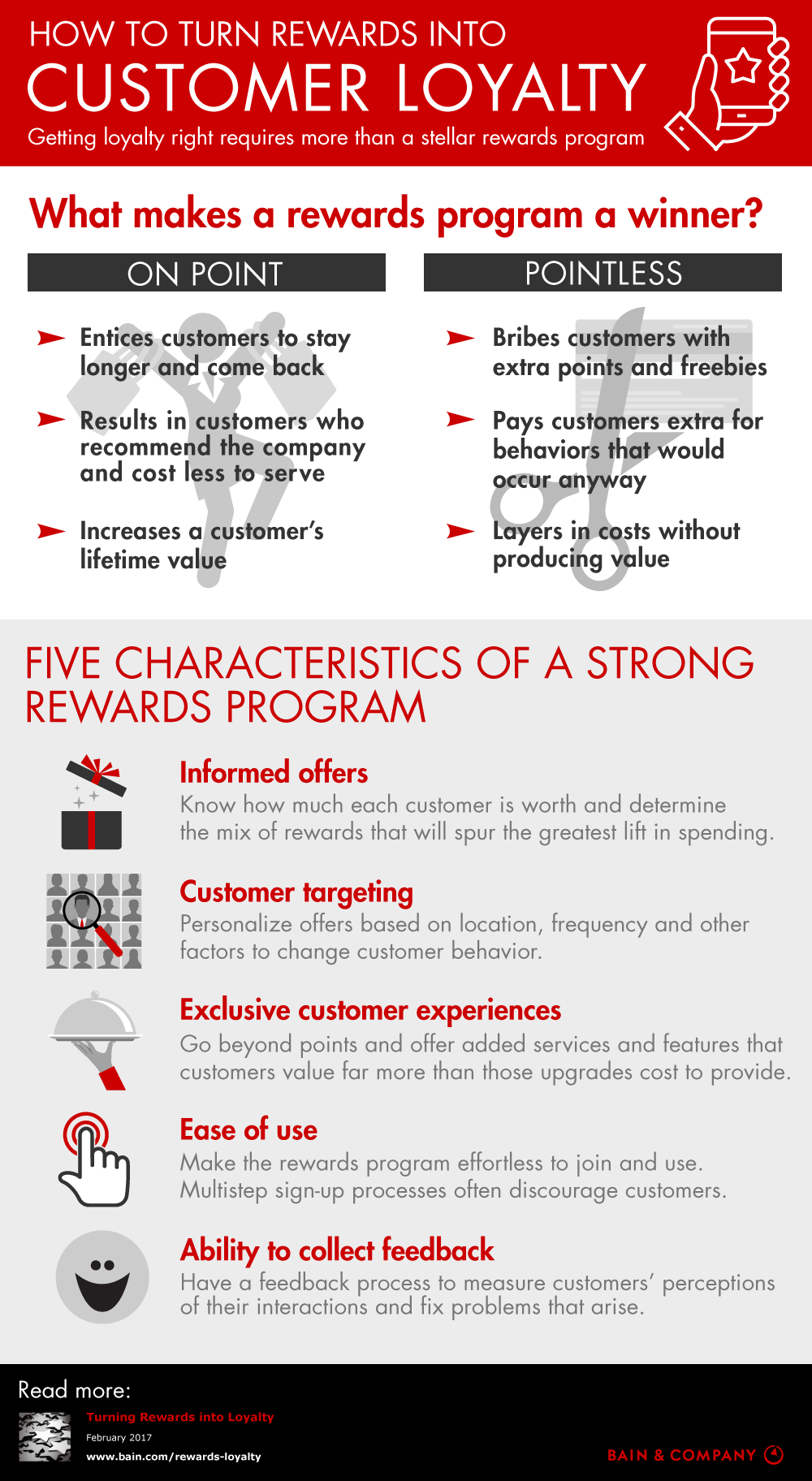 To generate customer loyalty, rewards programs should have five key characteristics.