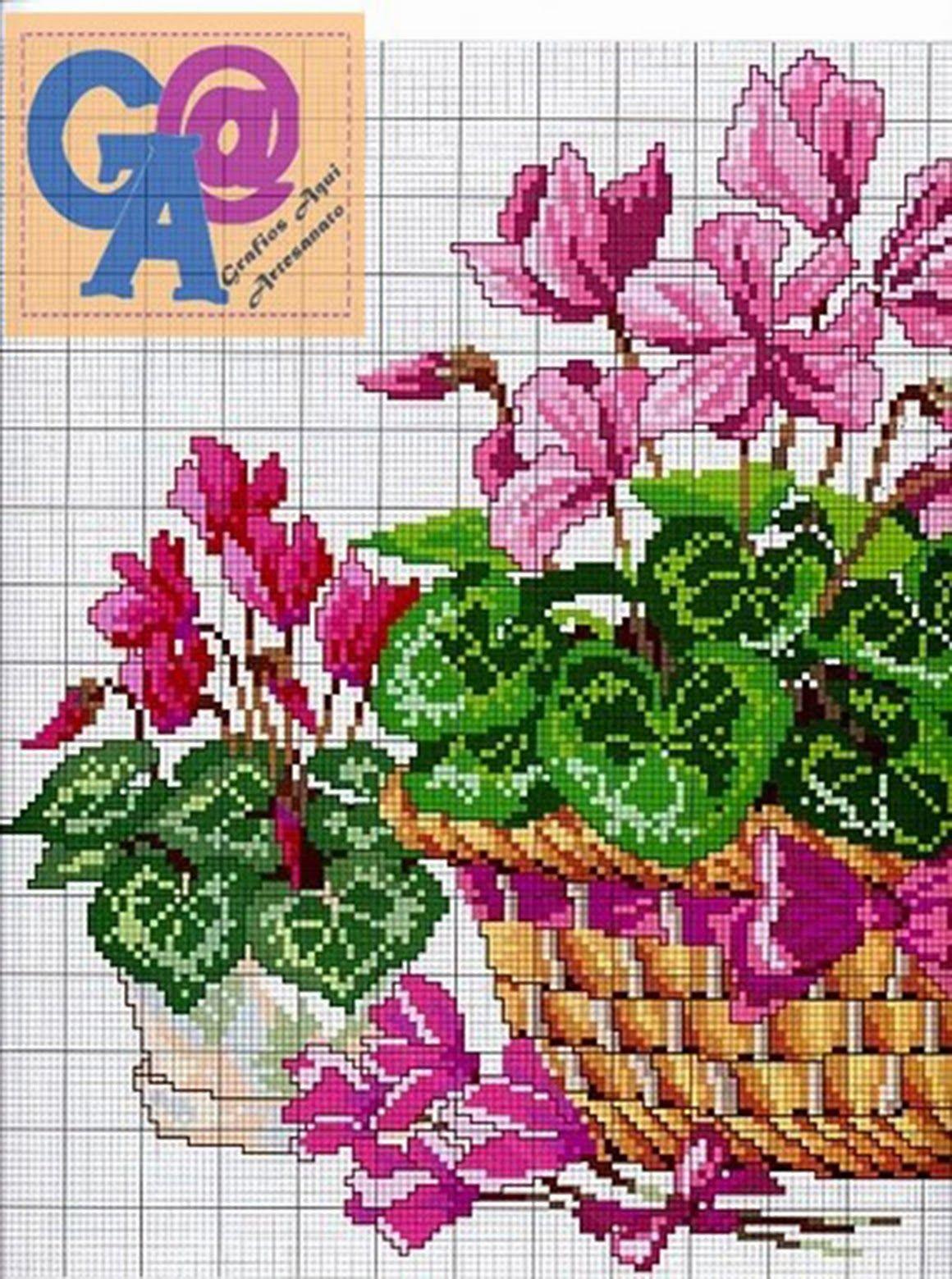 Cesta De Flor Bordado Em Ponto Cruz Grafico Com Cores Floral