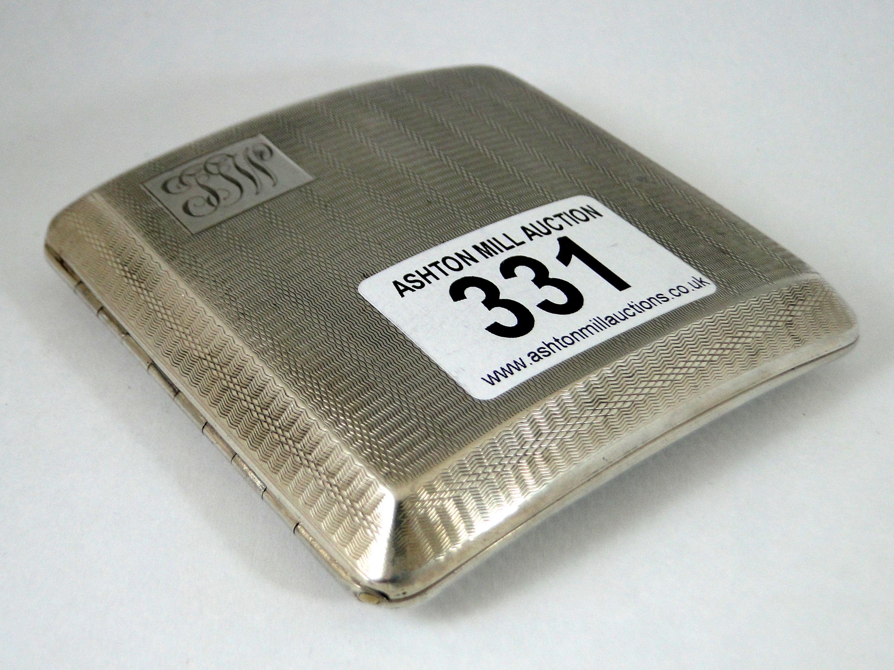 331) Art deco period curved silver engine turned cigarette case – Birmingham 1928 – 100g Est. £30-£40