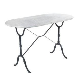 table ovale en marbre blanc noir