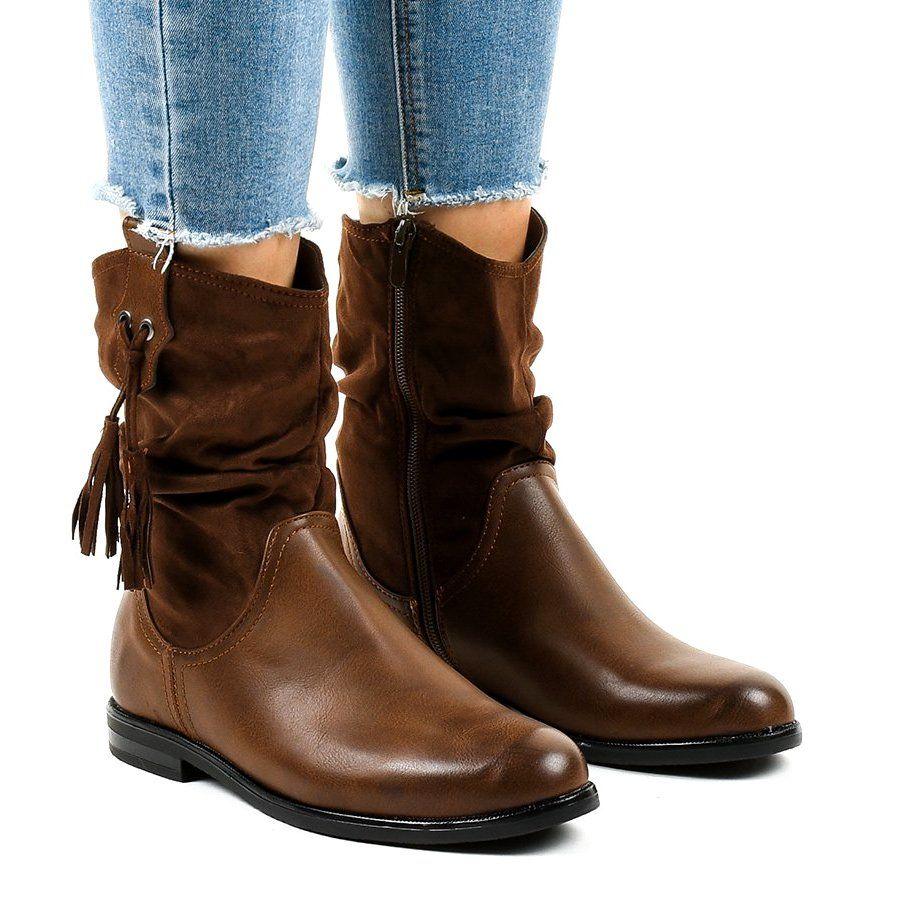 Brazowe Plaskie Botki Damskie Ocieplane 2956 Womens Boots Womens Boots Flat Boots
