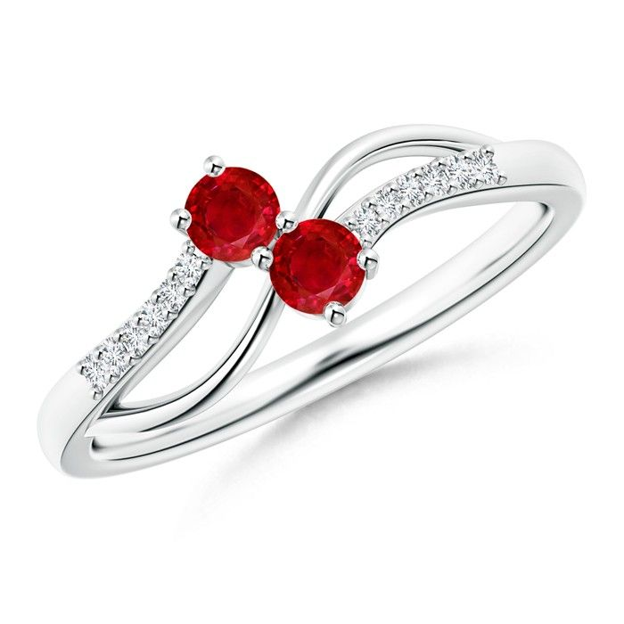 Angara Pear Ruby and Diamond Curved Cross Ring in Platinum NewyPzBurb