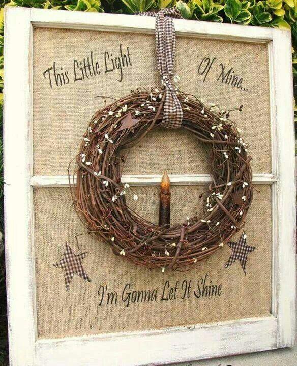 This little light of mine window frame w/wreath,i'llmake candle holder on board,along w/lyrics